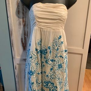 Anthropologie strapless embroidered sundress